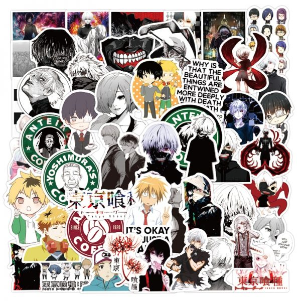 10 30 50pcs pack Japanese anime Tokyo Ghoul Stickers For Refrigerator Cars Helmet Gift Box Bicycle 1 - Tokyo Ghoul Merch Store