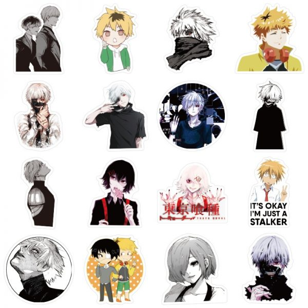 10 30 50pcs pack Japanese anime Tokyo Ghoul Stickers For Refrigerator Cars Helmet Gift Box Bicycle 2 - Tokyo Ghoul Merch Store