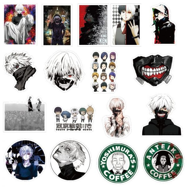 10 30 50pcs pack Japanese anime Tokyo Ghoul Stickers For Refrigerator Cars Helmet Gift Box Bicycle 3 - Tokyo Ghoul Merch Store