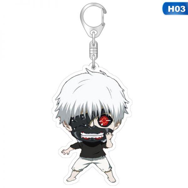 1pcs Tokyo Ghoul Keychain Kaneki Ken Key Chain Pendant Acrylic Anime Accessories Cartoon Key Ring 3 - Tokyo Ghoul Merch Store