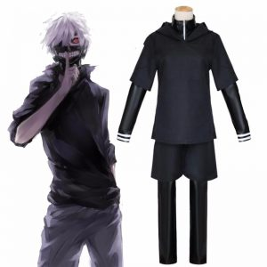 JP Anime Tokyo Ghoul Ken Kaneki Cosplay Costume Full Set Black Leather Fight Uniform Women Men - Tokyo Ghoul Merch Store