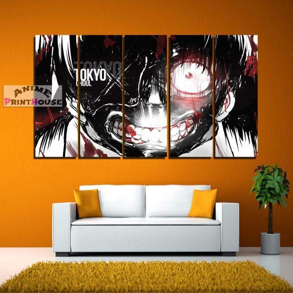 Tokyo Ghoul Canvas Print , 1 to 5 Pieces, Crazy Kaneki FaceOfficial Tokyo Ghoul Merch