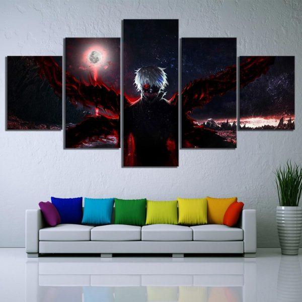 HD Print Canvas Paintings Home Decor 5 Panel Tokyo Ghoul KanekikenOfficial Tokyo Ghoul Merch