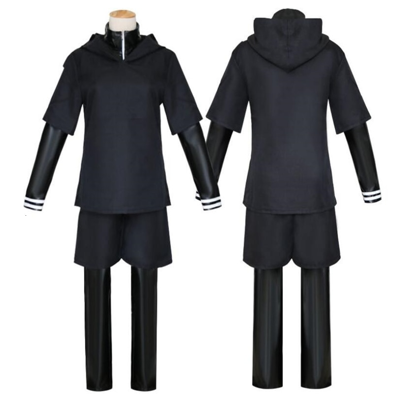 Tokyo Ghoul Cosplay - Ken Kaneki Cosplay Costume Full Set Black Leather Fight Uniform With Mask and Wig