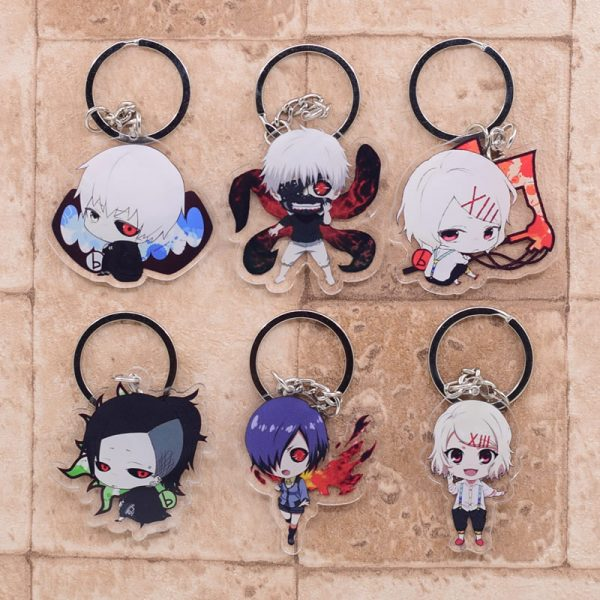 2019 Tokyo Ghoul Keychain Double Sided Key Chain Acrylic Pendant Anime Accessories Cartoon Key Ring - Tokyo Ghoul Merch Store