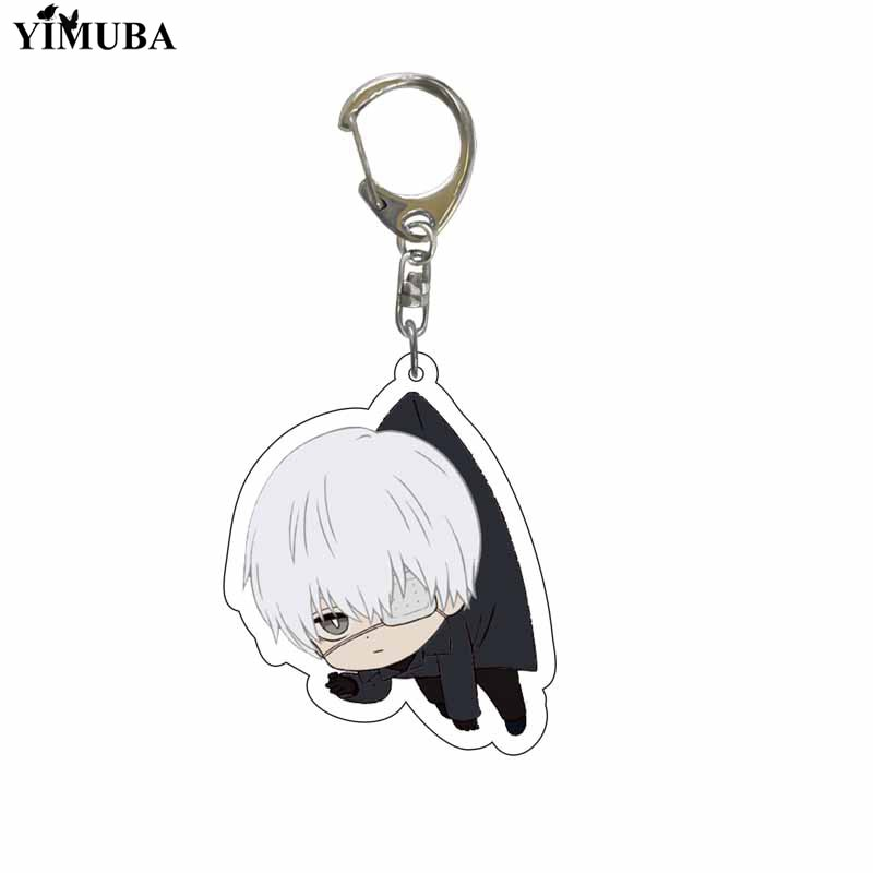 Japan Anime Tokyo Ghoul Keychain Lovely Kaneki Ken Figure Acrylic Pendant Key Chain Cartoon Character Key Ring Bag Charm Llavero